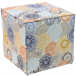 Skyline Furniture Ottoman in Painterly Medallion Multi
