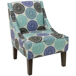 Skyline Furniture Upholstered Accent Chair In Pen Medallion Blue