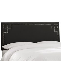 Skyline Furniture Upholstered Panel Headboard in Shantung Black-LL
