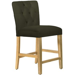 Skyline Furniture Velvet Upholstered Tufted Bar Stool in Pewter