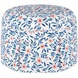 Skyline Round Skirted Ottoman in Fiona Floral Porcelain Blush