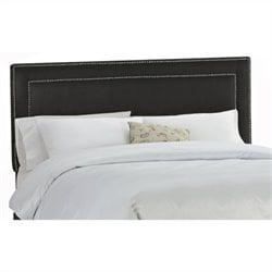 Skyline Furniture Upholstered Headboard with Pewter Buttons in Black - Twin