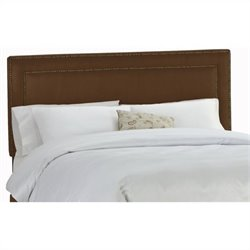 Skyline Furniture Upholstered Headboard with Brass Buttons in Chocolate - Twin