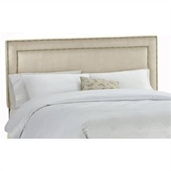 Skyline Furniture Upholstered Headboard with Brass Buttons in Oatmeal - Twin