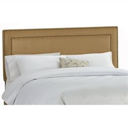 Skyline Furniture Upholstered Headboard with Brass Buttons in Saddle - Twin