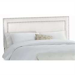Skyline Furniture Upholstered Headboard with Pewter Buttons in White - Twin