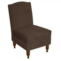 Skyline Furniture Velvet Slipper Chair in Brown