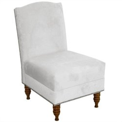 Skyline Furniture Armless Chair with Pewter Buttons in White