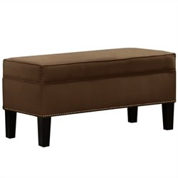 Skyline Furniture Storage Bench with Brass Buttons in Chocolate