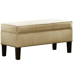 Skyline Furniture Storage Bench with Brass Buttons in Oatmeal
