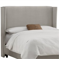 Skyline Furniture Upholstered Wingback Headboard in Velvet Grey - California King