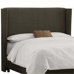 Skyline Furniture Upholstered Wingback Headboard in Velvet Pewter - California King