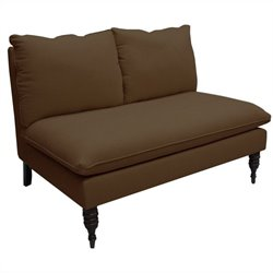 Skyline Furniture Armless Love Seat in Chocolate