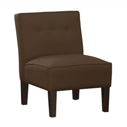 Skyline Furniture Armless Chair Buttons in Chocolate