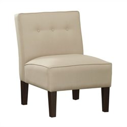 Skyline Furniture Upholstered Tufted Slipper Chair in Ivory