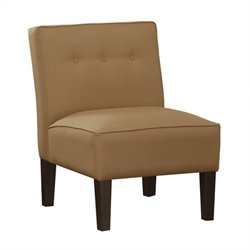 Skyline Furniture Upholstered Tufted Slipper Chair in Tan