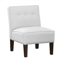 Skyline Furniture Micro-Suede Tufted Slipper Chair in White