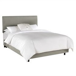 Skyline Furniture Linen Slipcover Bed in Grey - California King