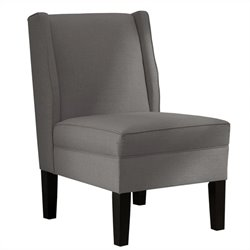 Skyline Furniture Upholstered Armless Wingback Linen Chair in Grey