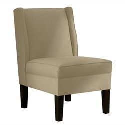 Skyline Furniture Upholstered Armless Wingback Chair in Sandstone
