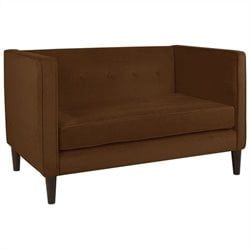 Skyline Furniture Five Button Loveseat in Chocolate