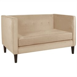 Skyline Furniture Five Button Loveseat in Oatmeal