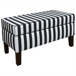 Skyline Furniture Storage Bench in Black and White