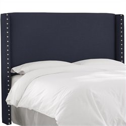 Skyline Furniture Button Headboard in Navy - California King