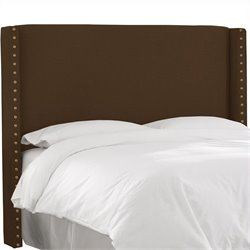Skyline Furniture Button Headboard in Chocolate - California King