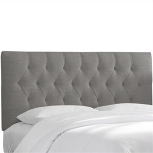 Skyline Furniture Tufted Panel Headboard in Gray