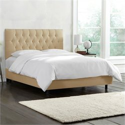 Skyline Furniture Tufted Bed in Sandstone
