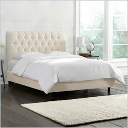 Skyline Furniture Tufted Bed in Talc