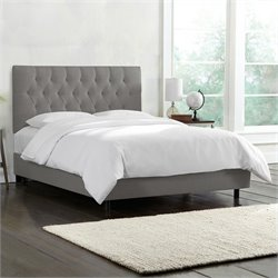 Skyline Furniture Tufted Bed in Gray