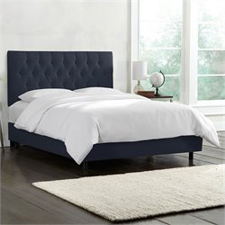 Skyline Furniture Tufted Bed in Navy - California King