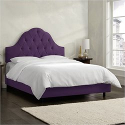 Skyline Furniture Arch Tufted Bed in Aubergine
