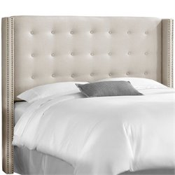 Skyline Tufted Wingback Panel Headboard in Ivory