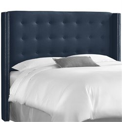 Skyline Tufted Wingback Panel Headboard in Navy
