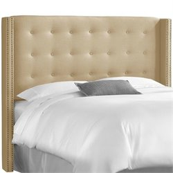 Skyline Tufted Wingback Panel Headboard in Beige