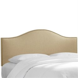Skyline Nail Button Panal Headboard in Beige