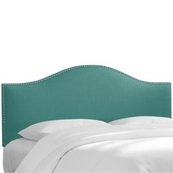 Skyline Nail Button Panel Headboard in Laguna