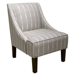 Skyline Upholstered Swoop Fabric Arm Chair in Gray