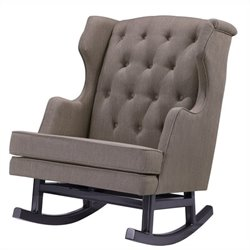 Nursery Works Empire Rocker in Hazelnut Weave Fabric with Dark Legs