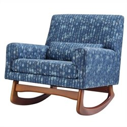 Nursery Works Sleepytime Rocker in Cosmo Cotton in Indigo with Walnut Legs
