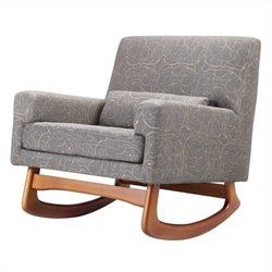 Nursery Works Sleepytime Rocker in Perennial Cotton in Grey and Taupe with Walnut Legs