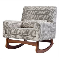 Nursery Works Sleepytime Rocker in Athena Cotton in Grey and Natural with Walnut Legs