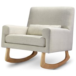 Nursery Works Sleepytime Rocker in Oatmeal Weave Fabric with Light Legs