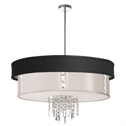 Dainolite 4 Light Crystal Pendant with Pebble Shade in Polished Chrome