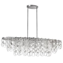 Dainolite 8 Light Glass Loop Oval Chandelier in Polished Chrome