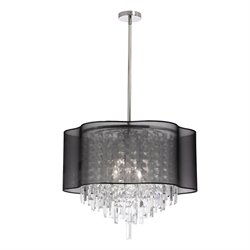 Dainolite 6 Light Crystal Chandelier with Black Shade in Polished Chrome
