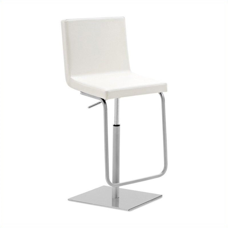 Adjustable Swivel Bar Stool in Bloom White
